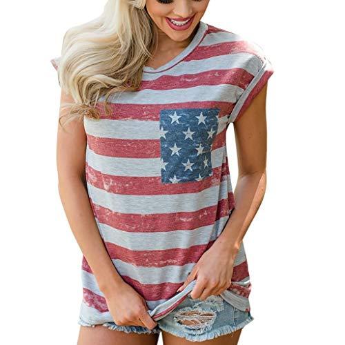 SHOBDW Damen Sommer Stilvoll Amerikanische Flagge Drucken Ärmellos/Kurzarm Tops Shirts Frauen Mode Elegant Stern Streifen Patchwork Lässig Bluse T Shirt