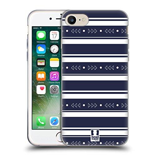Head Case Designs Bleu Foncé Et Rouge Rayures Imprimées Étui Coque en Gel molle pour Apple iPhone 5 / 5s / SE Bleu Foncé