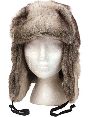 RUSSIAN STYLE TRAPPER HAT in SILVER BEIGE MIX LUXURY FAUX FUR - 3 Sizes