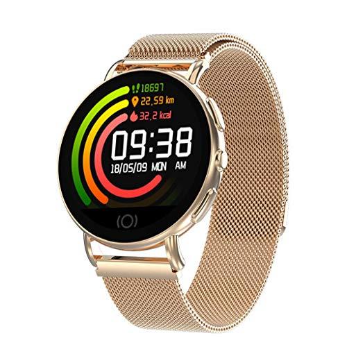 KLAYL Intelligente Uhr Intelligente Uhr 50% Smart Watch Series 4 SmartWatch Hülle für Apple iPhone Android Smartphone Herzfrequenzmesser pedometor (Red Button), Gold - Gold Watch Red