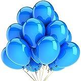Vercrown 100 Piezas Azul Globos DE 10 Pulgadas 1.8g/pc Color Brillante Globos de Látex para la Fiesta de Cumpleaños del Aniversario de Boda