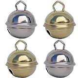 Glöckchen schellen 24mm (2 Silber (Silberfarben) + 2 Gold (goldene farbe)) – schön laut sound (nicht rostend) - Mehr als 16 farben in 3 Größen (Glöcken Kugeldurchmesser 15 mm, 24 mm, 35 mm) – Glöckchen zum basteln, kreatives Gestalten baby, kinder, senioren : musikalischen Früherziehung, deko, Schlüsselanhänger, Hochzeit, fußballfanartikel, Haustiere …