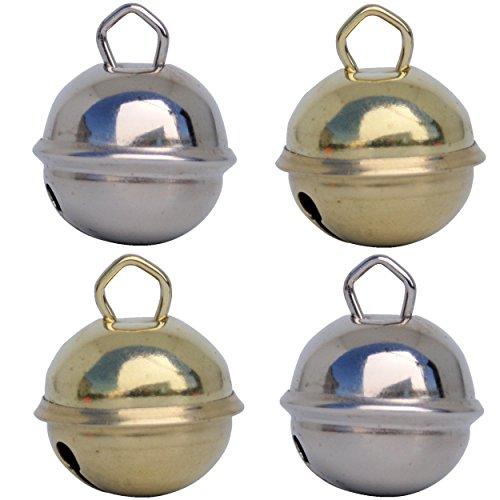 Glöckchen 2 Silber Silberfarben + 2 Gold goldene farbe (4x 24mm) Musikid Schöne Töne Glöckchen Riese große mittelgroße + 16 Farben in 15mm, 25mm 35mm Montessori Kinder Weihnachtsdekoration Geburtstag