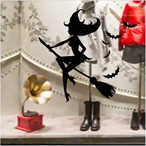 JXSTORE Wandaufkleber für Schlafzimmer Wohnzimmer Mädchen Junge Küche - Halloween Festival Hexenbesen (Halloween Ein Sie Für Hexenbesen Machen)
