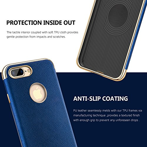Coque iPhone 7, Premium Cuir Bumper[Slim Fit] Protective Housse Etui Coque Pour iPhone 7 [Bleu] Bleu/For iPhone 7 Plus