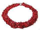 Halskette aus roter Koralle in Splitterform mehrreihig aufgezogen L-45 cm