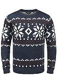 !Solid Norwig Herren Weihnachtspullover Norweger-Pullover Winter Strickpullover Grobstrick Pullover mit Rundhalsausschnitt, Größe:L, Farbe:Insignia Blue Melange (8991)