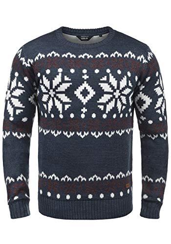 !Solid Norwig Herren Weihnachtspullover Norweger-Pullover Winter Strickpullover Grobstrick Pullover mit Rundhalsausschnitt, Größe:XL, Farbe:Insignia Blue Melange (8991)