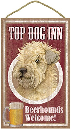 (sjt27975) Wheaten Terrier, on the top Dog Inn 10 'x 16' wooden plaque, sign