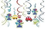 Amscan 12-teilige Hänge-Dekoration Birthday Boy für den ersten Kindergeburtstag