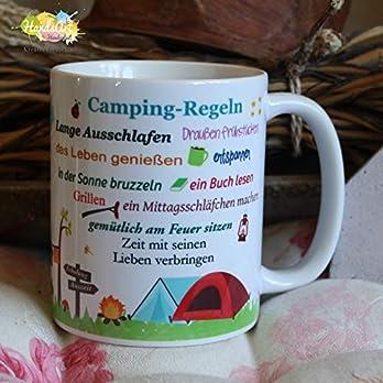 Kaffeebecher ~ Tasse – Camping-Regeln (Wohnmobil)~ Camper – Camping – Wohnwagen – Zelt ~ Weihnachten Geschenk