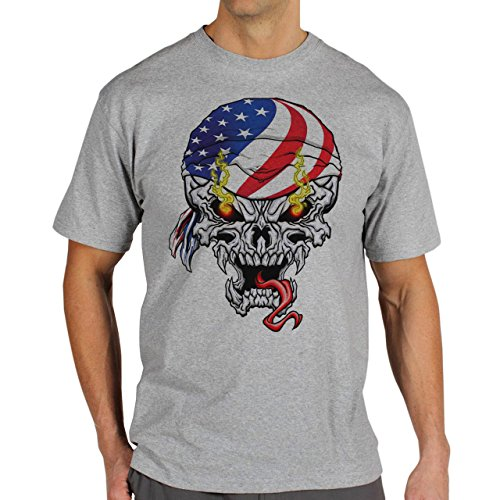 Skull American Fire Eyes Background Herren T-Shirt Grau