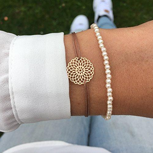Imagen de pulsera de macramé con flor de mandala en oro rosado, estilo bohemio, pulsera de la suerte alternativa
