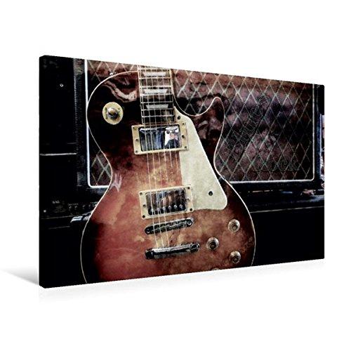 Premium Textil-Leinwand 75 cm x 50 cm quer, Blues Rock | Wandbild, Bild auf Keilrahmen, Fertigbild auf echter Leinwand, Leinwanddruck: Les Paul Style vor Gitarrencombo (CALVENDO Kunst)