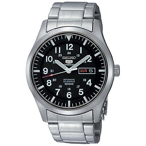 Seiko - SNZG13K1 - 5 Sports - Montre Homme - Automatique Analogique - Cadran Noir - Bracelet Acier Gris( Import Allemand)