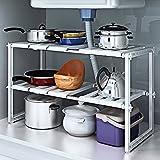 livivo® Caddy de almacenamiento debajo del fregadero–blanco extensible y ajustable Multi Propósito Cocina Baño debajo del fregadero estante organizador almacenamiento ordenado
