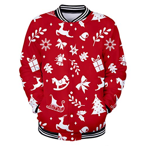 Aoogo Herren lustig Paar Weihnachten 3D Print Weihnachtspullover Langarm Baseball Wear Sweatshirt Herren Hoodie Jungen Kapuzenpullover