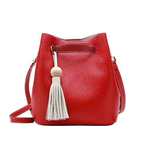 Valin Q0899 Damen Leder Handtaschen Satchel Tote Taschen Schultertaschen Rot