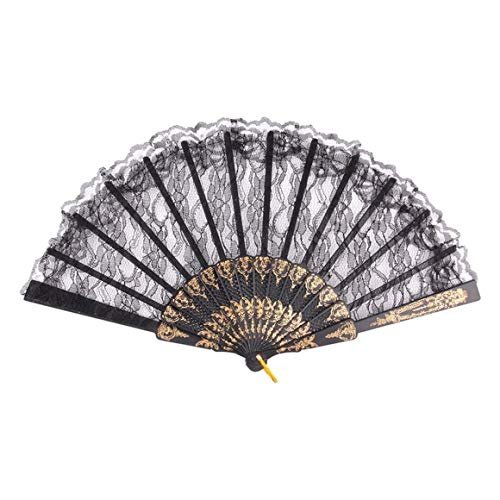 Kostüm Falten - Funnyrunstore Vintage Wunderschöne Spitze Fancy Dress Chinesischen Stil Kostüm Party Hochzeit Tanzen Falten schwarzer Spitze Handfächer (Farbe: schwarz)