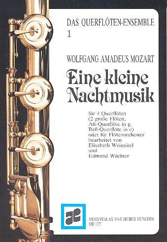 Eine kleine Nachtmusik: Flöten-Ensemble (2 große Flöten, Altflöte in G und Bassflöte in C). Partitur und Stimmen.