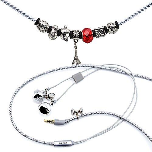URIZONS In Ear Kopfhörer, In-Ohr Kopfhörer mit Mikrofon und Fernbedienung Pandora Perlen Wearable Wistband Halskette (Turm Silber)