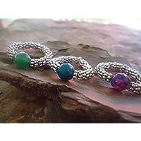 ✿ ACHTRING FARBIG ✿ elastischer Ring &Halbedelstein