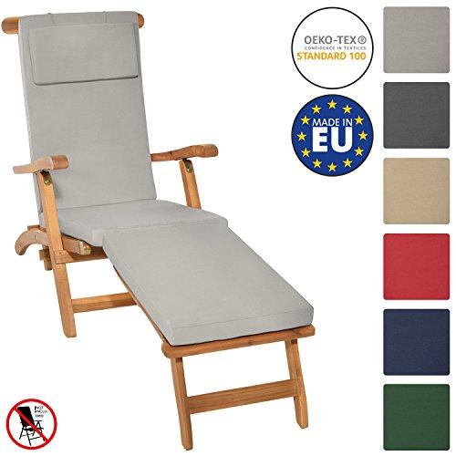 Galleria fotografica Beautissu Cuscino per sedia a sdraio LoftLux DC 175x45x5cm - cuscino sfoderabile per sedie e poltrone da giardino - grigio chiaro