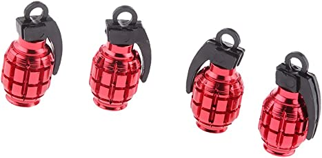 FNT 5pcs Metal Tyre Valve Dust Cap Grenade for Auto Car Bike Motorcycle Bicycle