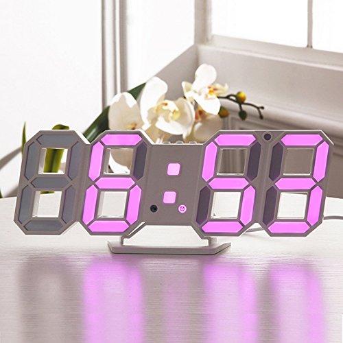 Lixada Digital LED Tisch Wanduhr/LED Digital Wecker mit Einstellbarer Helligkeit Funktion für Schreibtisch Wand Bett, Einzelteilgröße: 24 * 9.4 * 1.7cm. (Wand-bett Schreibtisch)