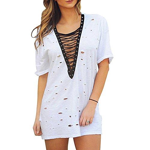 Vestiti profondi della spiaggia del V-collo del cotone sexy delle donne di estate delle donne scavano dalla copertura del bikini del vestito dalla spiaggia Camicia a maglia sciarpa in camicia bianca