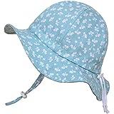 Baby-Sonnenhut mit Kinnriemen, Kordelzug, einstellbare Kopfgröße, atmungsaktiv, UV-Schutzfaktor 50+ (S: 0 - 9 M, Mint-Blume)