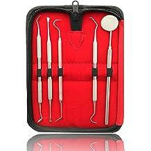 5er Dental Set Zahnreinigung Zahnsteinentferner Zahnsonde Zahnpflege Mundspiegel Instrument Sonde Pflegeset Edelstahl Scaler - Marke Sunglow