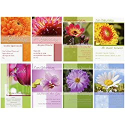 50 Geburtstagskarten Blumen Grußkarten Glückwunschkarten Geburtstag 51-6390