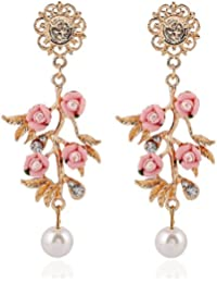 Shining Diva Fashion Designer Pink Flower Stylish Fancy Party Wear Earrings For Girls & Women