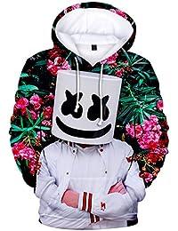 50e63e941 EMILYLE Niñas Marshmello DJ Sudadera con Capucha 3D Impresión ...