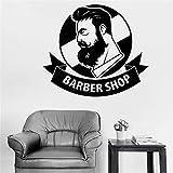 stickers muraux ronds Logo de ruban créatif de salon de barbier homme moderne logo Room Men Salon pour salon de beauté salon de coiffure