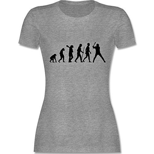 Evolution - Baseball Evolution - tailliertes Premium T-Shirt mit Rundhalsausschnitt für Damen Grau Meliert