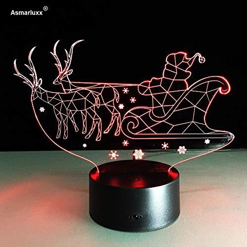 CYJQT 3D Nachtlicht Für Kinder Schlitten Vision Led Für Kinder Touch Usb Tisch Lampara Lampe Baby Schlafen Kleine Wohnkultur Lichter 7 Farbige Lichter - Für Kleine Schlitten Kinder