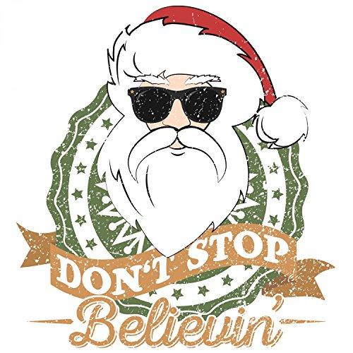 Fashionalarm Herren T-Shirt - Don't Stop Believin' | Fun Shirt als Geschenk Idee Weihnachten Heiligabend Nikolaus Weiß