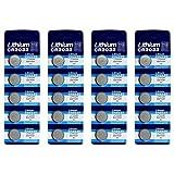 E-Goal - Pilas de botón de litio CR2032 (3 V) 20Pcs plata