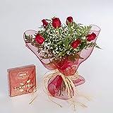 Precioso ramo formado por 6 rosas rojas naturales y sus verdes correspondientes, acompañado de una magnifica caja de bombones de 100 gramos de la marca Nestle. Un regalo ideal para cualquier ocasión.