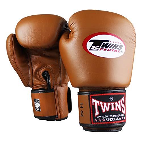 Twins Special Boxhandschuhe Retro Braun - Boxhandschuhe Kickboxen Sparring Muay Thai Leder - Must Have für Thaiboxer - Handgefertigt in Thailand von Twins, die Premium Muay Thau Marke (12oz)