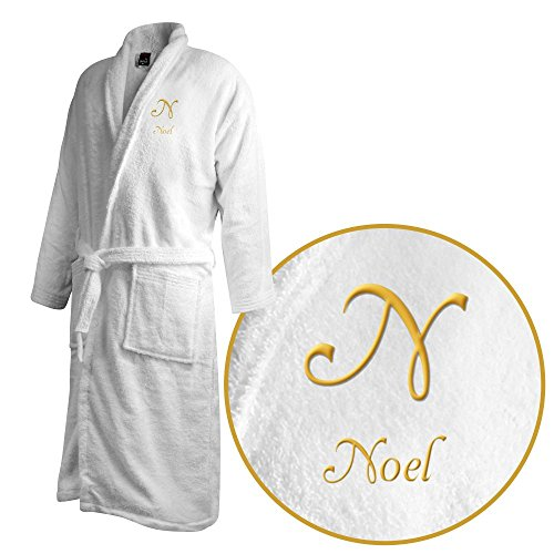 Bademantel mit Namen Noel bestickt - Initialien und Name als Monogramm-Stick - Größe wählen White
