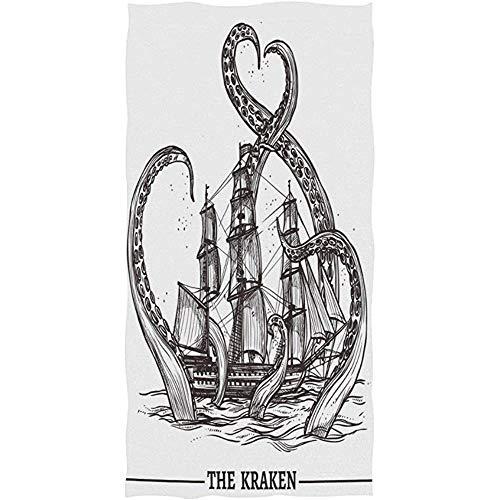 Fairy Town Handtuch Octopus Fänge Schiff Ozean Meer Vintage Weiche Mikrofaser Badetuch Handtuch Gesicht Handtuch Für Hotel Spa Gym Sport 40 X 70 cm
