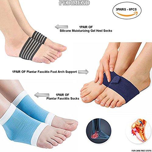 pedimendtm Arch Unterstützung für flache Füße (2) | Einstellbare Kompression Plantarfasziitis Arch Unterstützung (2) | Silikon Feuchtigkeitsspendende Gel Ferse Socken (2) | Unterstützung Senkfuß | Unisex | Foot Care (Einstellbare Arch)