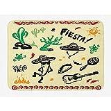 Balance-Life Tappetino da Bagno Messicano, Popolari Oggetti da Cartone Animato ispanico con Stampa di Nachos di Piante di Cactus di Chitarra Taco Fiesta