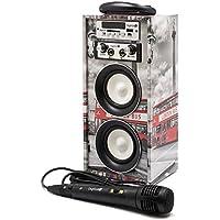 Karaoke DigiVolt HIFI-16 by MovilCom | altavoz bluetooth reproductor mp3 reproductor multimedia USB Micrófono Radio FM Entrada AUX Mando LONDON BUS