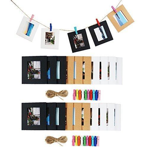 Papier zum Aufhängen Foto Film Rahmen für Fujifilm Instax Mini 8/7S 8 + 9 25 26 50s 90 Polaroid Filme & Name Card (schwarz / weiß / braun) (Mini-foto-rahmen)