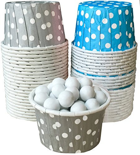 Outside the Box Papers Polka Dot Candy Nut Cups Light Blue, Silver, White by Outside the Box Papers