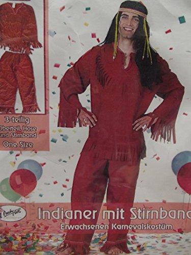 Preisvergleich Produktbild Erwacksenen Kostüm Verkleidung Fasching INDIANER one size